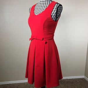 NWOT Red Fit & Flare Dress with Bow